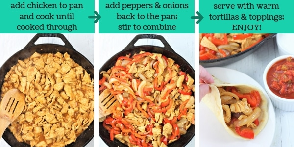 three images showing steps to make skillet chicken fajitas