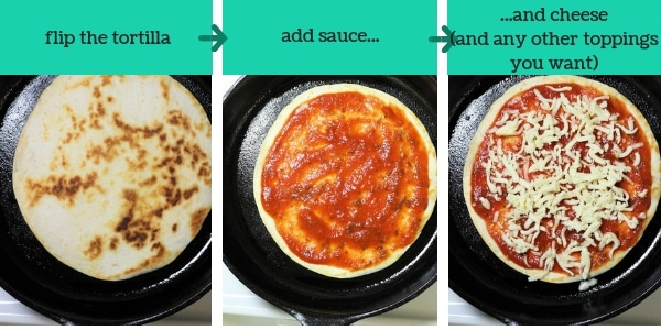 three images showing steps to make skillet tortilla pizza
