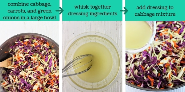 three images showing steps to make sweet and tangy no-mayo coleslaw