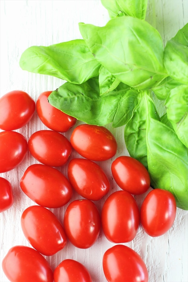 grape tomatoes and fresh basil