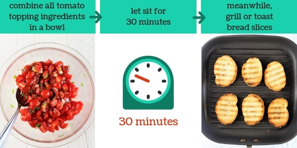 three images showing steps to make tomato basil bruschetta