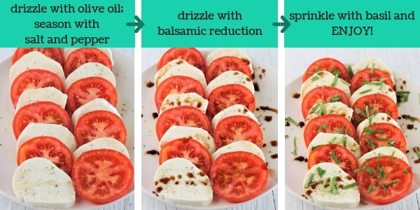 three images showing steps to make caprese salad with balsamic drizzle