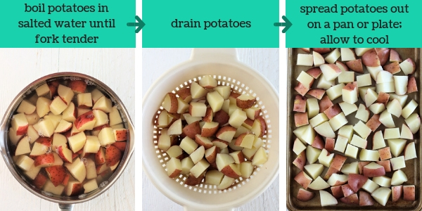 three images showing steps to make cheesy bacon ranch potato salad