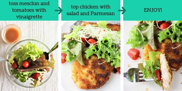 three images showing steps to make chicken milanese with mesclun salad