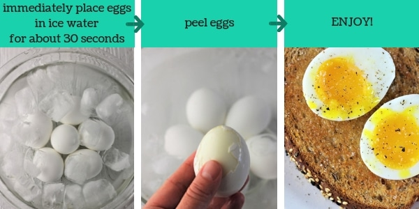 three images showing steps to make instant pot soft boiled eggs