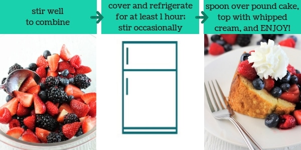 three images showing steps to make pound cake with marsala mixed berries