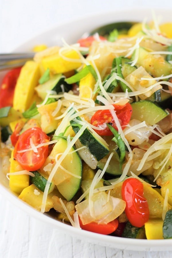bowl of zucchini yellow squash and tomato saute