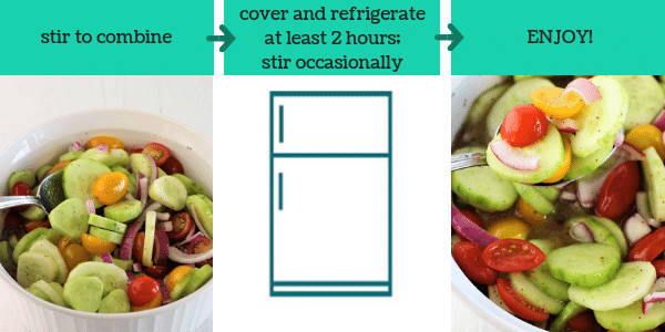 three images showing steps to make cucumber tomato and onion salad