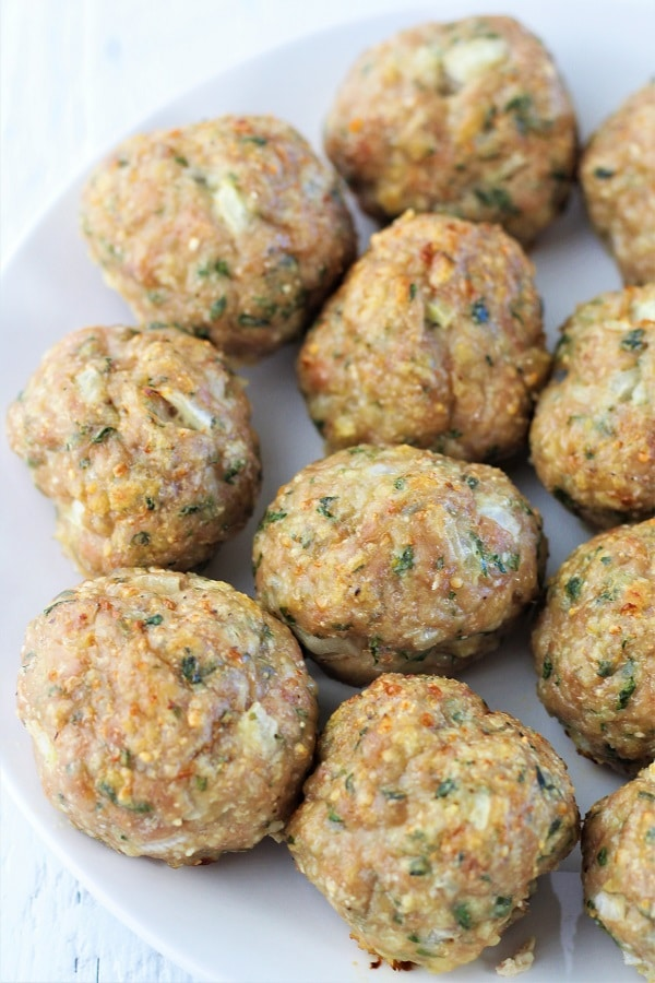 plate of baked meatballs