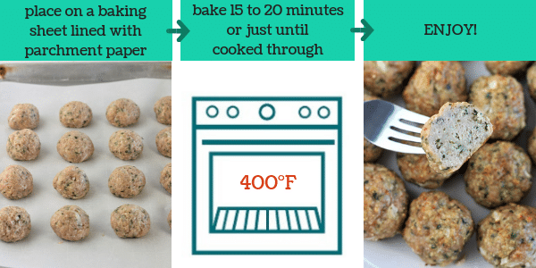 three images showing steps to make easy baked meatballs