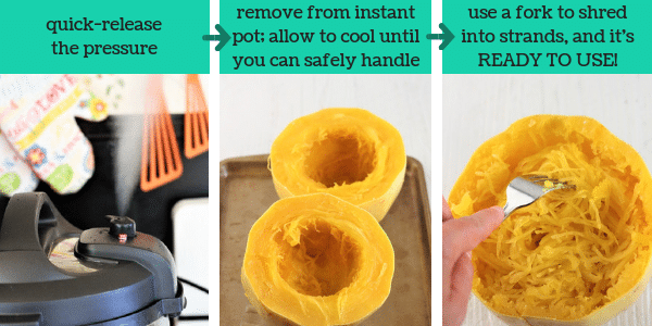 three images showing steps to make instant pot spaghetti squash