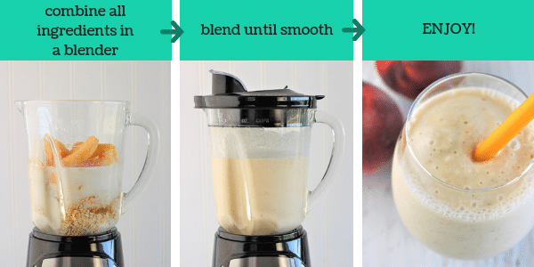 three images showing steps to make peach and oat smoothie