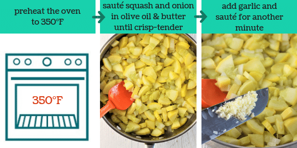 three images showing steps to make yellow squash casserole