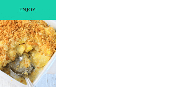 one image showing steps to make yellow squash casserole