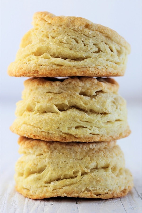 3 stacked homemade buttermilk biscuits