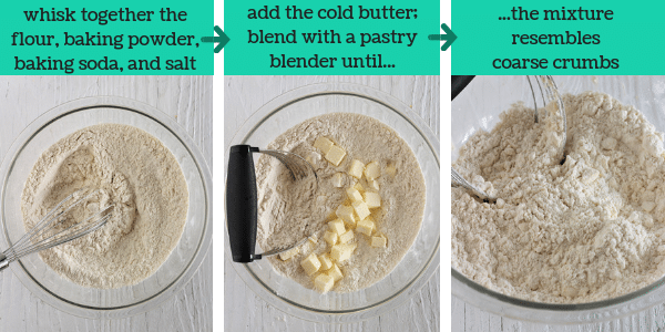 3 images showing steps to make homemade buttermilk biscuits
