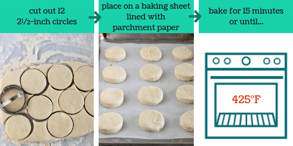 three images showing steps to make homemade buttermilk biscuits