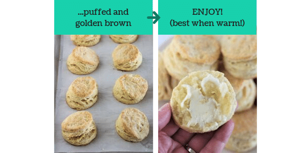 two images showing steps to make homemade buttermilk biscuits