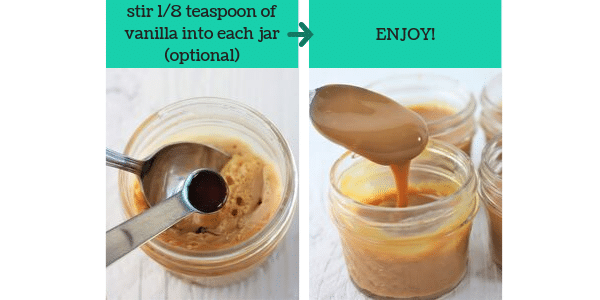two images showing the steps to make homemade dulce de leche in the slow cooker