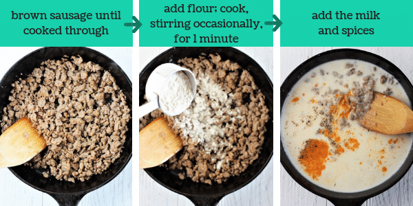 three images showing steps to make homemade sausage gravy