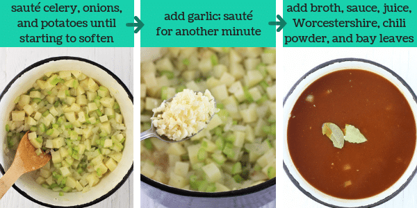 three images showing steps to make spicy tomato vegetable soup