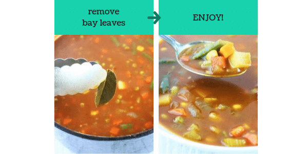 two images showing steps to make spicy tomato vegetable soup