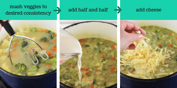 three images showing steps to make broccoli cauliflower and cheese soup