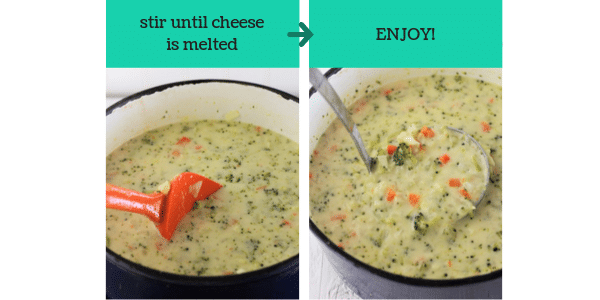 two images showing steps to make broccoli cauliflower and cheese soup