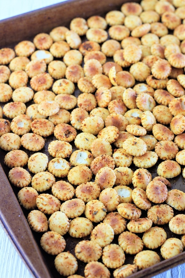 cajun spiced oyster crackers on a baking sheet