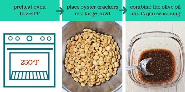 three images showing steps to make cajun spiced oyster crackers