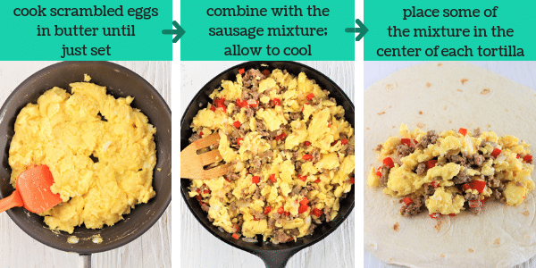 three images showing steps to make freezer-friendly breakfast burritos