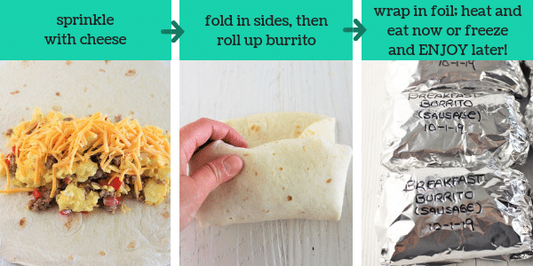 three images showing steps to make freezer friendly breakfast burritos