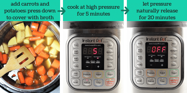 three images showing steps to make instant pot pot roast with vegetables