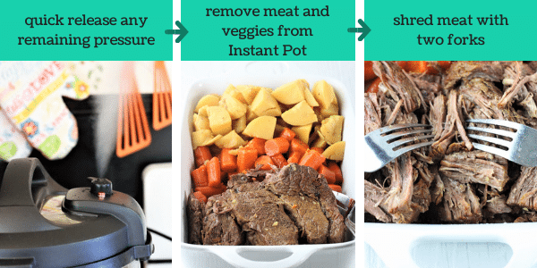 three images showing how to make instant pot pot roast with vegetables