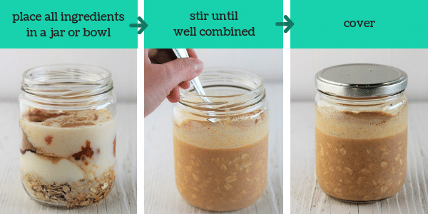 three images showing how to make pumpkin pie overnight oats