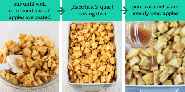 three images showing how to make caramel apple crisp