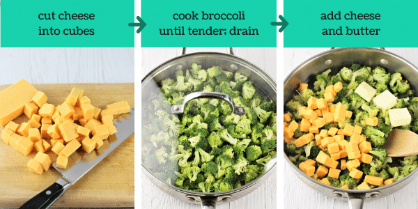 three images showing steps to make easy broccoli cheese casserole