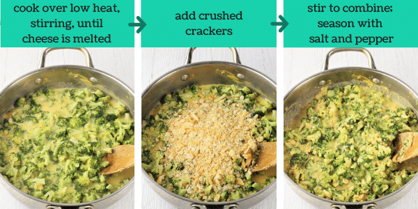three images showing how to make easy broccoli cheese casserole