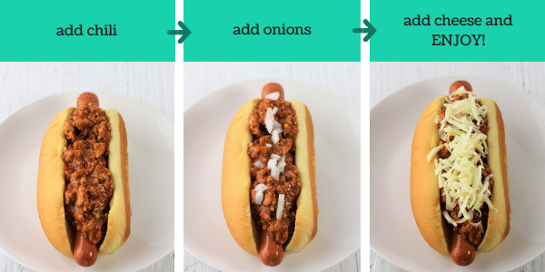 three images showing how to make homemade chili cheese dogs