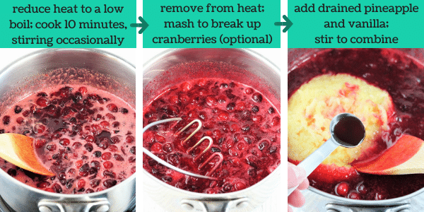 three images showing steps to make pineapple orange cranberry sauce