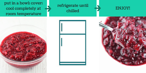 three images showing how to make pineapple orange cranberry sauce