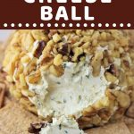 cheese ball on a plate with crackers with a text overlay that says now cook this cheddar and onion cheese ball