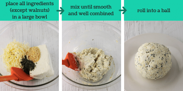 three images showing steps to make cheddar and onion cheese ball