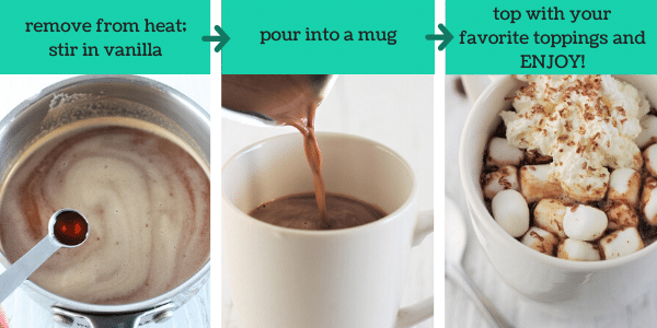 three images showing how to make chocolate chip hot chocolate