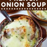 bowl of french onion soup with a spoon and a text overlay that says now cook this easy homemade french onion soup