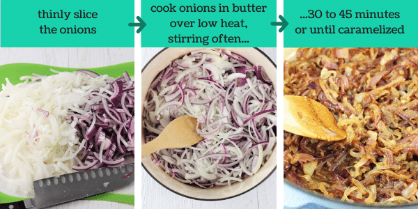 three images showing steps to make easy homemade french onion soup