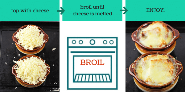 three images showing how to make easy homemade french onion soup