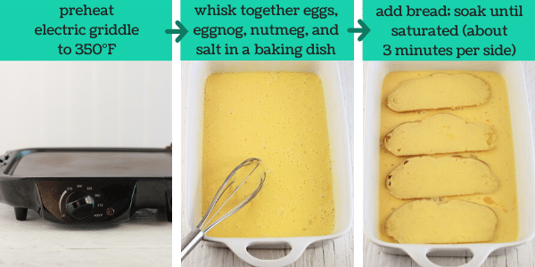 three images showing steps to make eggnog French toast