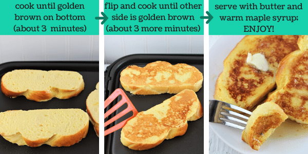 three images showing how to make eggnog French toast