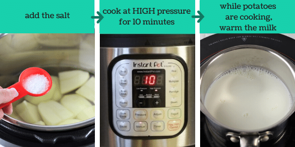 three images showing steps to make instant pot mashed potatoes